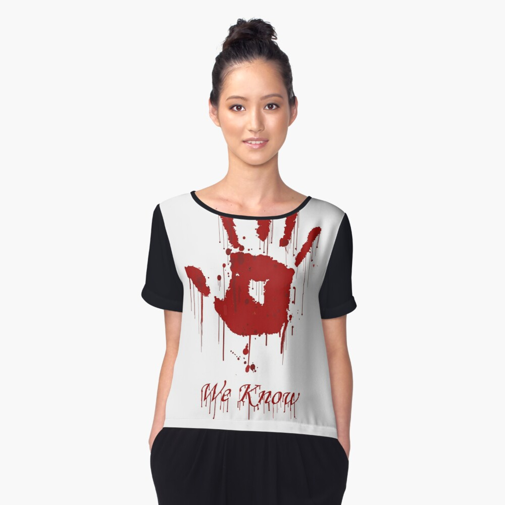 """AWESOME Dark Brotherhood """"We Know"""" Women's Chiffon Top Front"""
