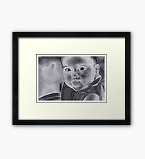 Baby With A Message Framed Print