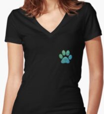 Dog Paw Women's Fitted V-Neck T-Shirt