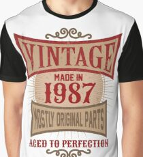 Vintage Made In 1987 Retro 30th Birthday Gift Graphic T-Shirt