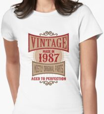 Vintage Made In 1987 Retro 30th Birthday Gift Womens Fitted T-Shirt