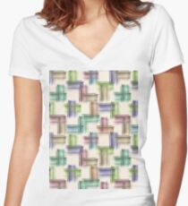 Watercolor brush strokes. Women's Fitted V-Neck T-Shirt