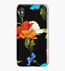 Wild rose, poppy flowers and cornflowers with leaves on black. iPhone Case/Skin