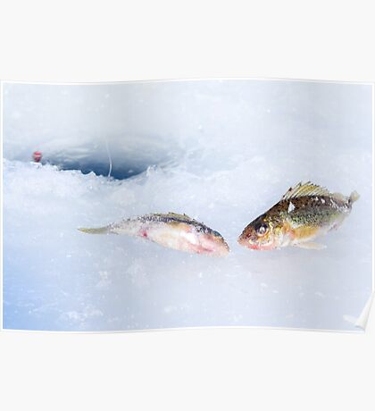 Hole in ice and fishing tackle Poster