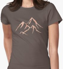 MOUNTAINS - Rose Gold on Black Rustic Adventure Wanderlust Art tshirt tapestry pillow rosegold  Womens Fitted T-Shirt