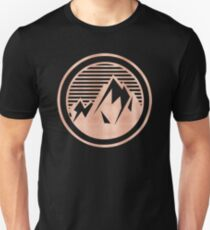 THE MOUNTAIN - Rose Gold on Black Vintage Retro Adventure Wanderlust Art tshirt tapestry pillow rosegold  T-Shirt