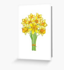 Bouquet with Narcissus or Daffodil. Greeting Card