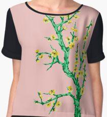 yellow flowers, pink background Women's Chiffon Top