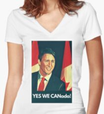 Yes We Canada!  Women's Fitted V-Neck T-Shirt