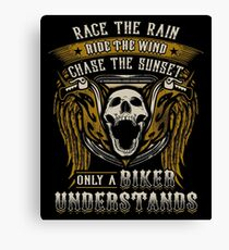 Motorcycles Biker Gift Skull Bike Motorcycle Sexy Race The Rain Ride The Wind and Chase the Sunset Only A Biker Understands Gold Angel Wings Canvas Print