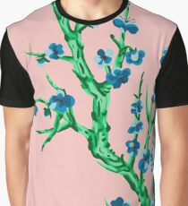 blue flowers in front of pink Graphic T-Shirt