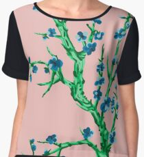 blue flowers in front of pink Chiffon Top