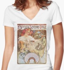 Alphonse Mucha - Biscuits Lefevre Utile Women's Fitted V-Neck T-Shirt