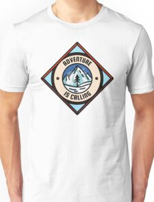 Adventure is Calling, Outdoors Nature Camping Badge Unisex T-Shirt