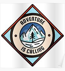 Adventure is Calling, Outdoors Nature Camping Badge Poster