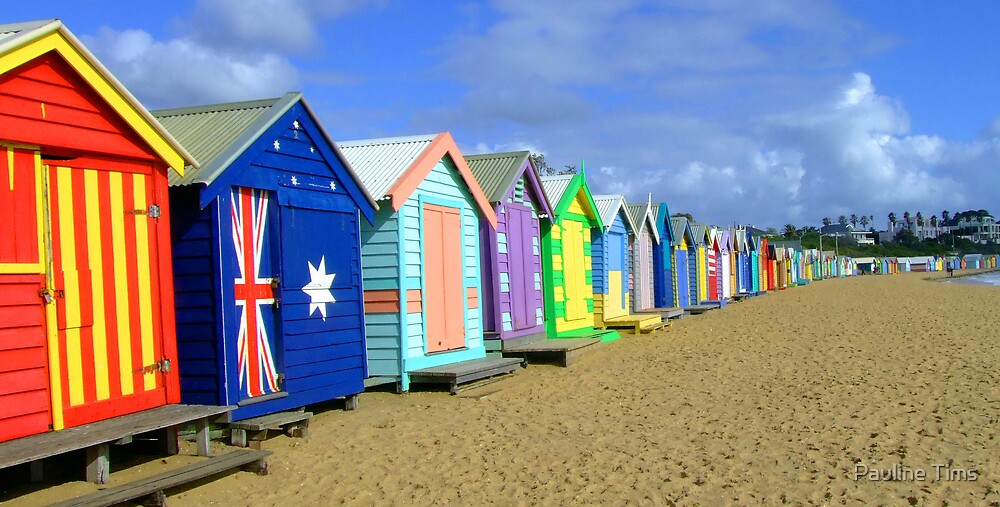 Beach Huts Brighton Melbourne by Pauline Tims