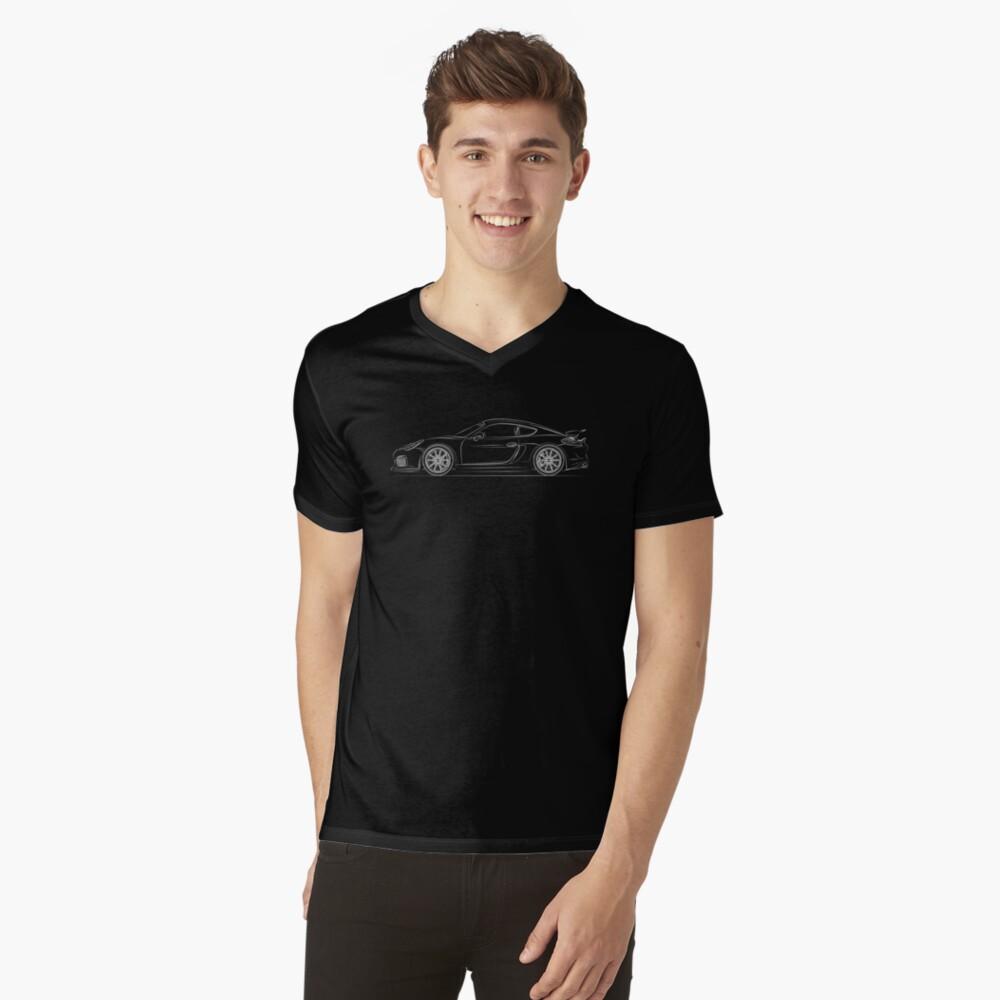 Cayman GT4 Linie Art T-Shirt mit V-Ausschnitt