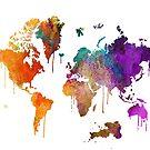 Weltkarte in Aquarell von UrsusFineArt