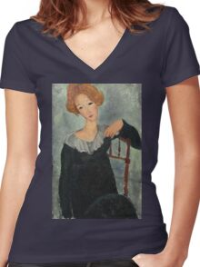 Amedeo Modigliani - Woman With Red Hair Women's Fitted V-Neck T-Shirt