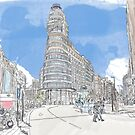 Aquarell Plaza de Callao Madrid von UrsusFineArt