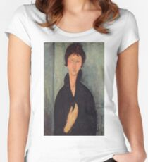 Amedeo Modigliani - Woman With Blue Eyes Women's Fitted Scoop T-Shirt