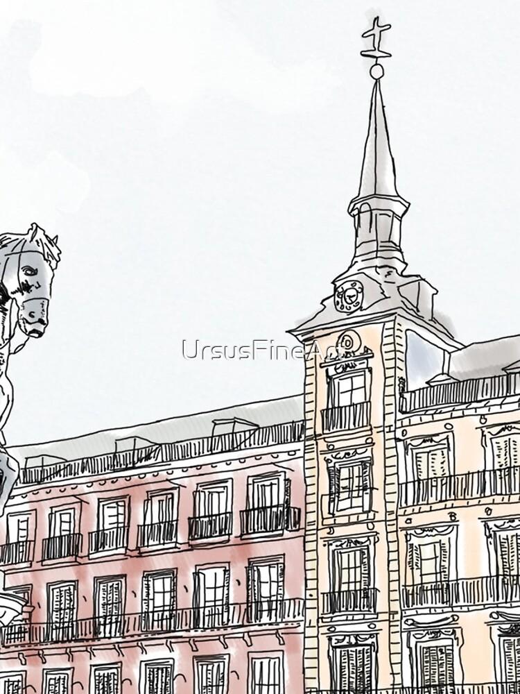 Plaza Mayor Madrid Aquarell von UrsusFineArt