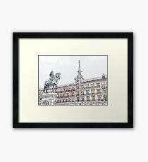 Plaza Mayor Madrid watercolor Framed Print