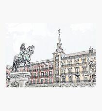 Plaza Mayor Madrid watercolor Photographic Print