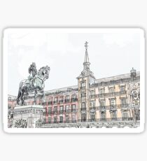 Plaza Mayor Madrid watercolor Sticker
