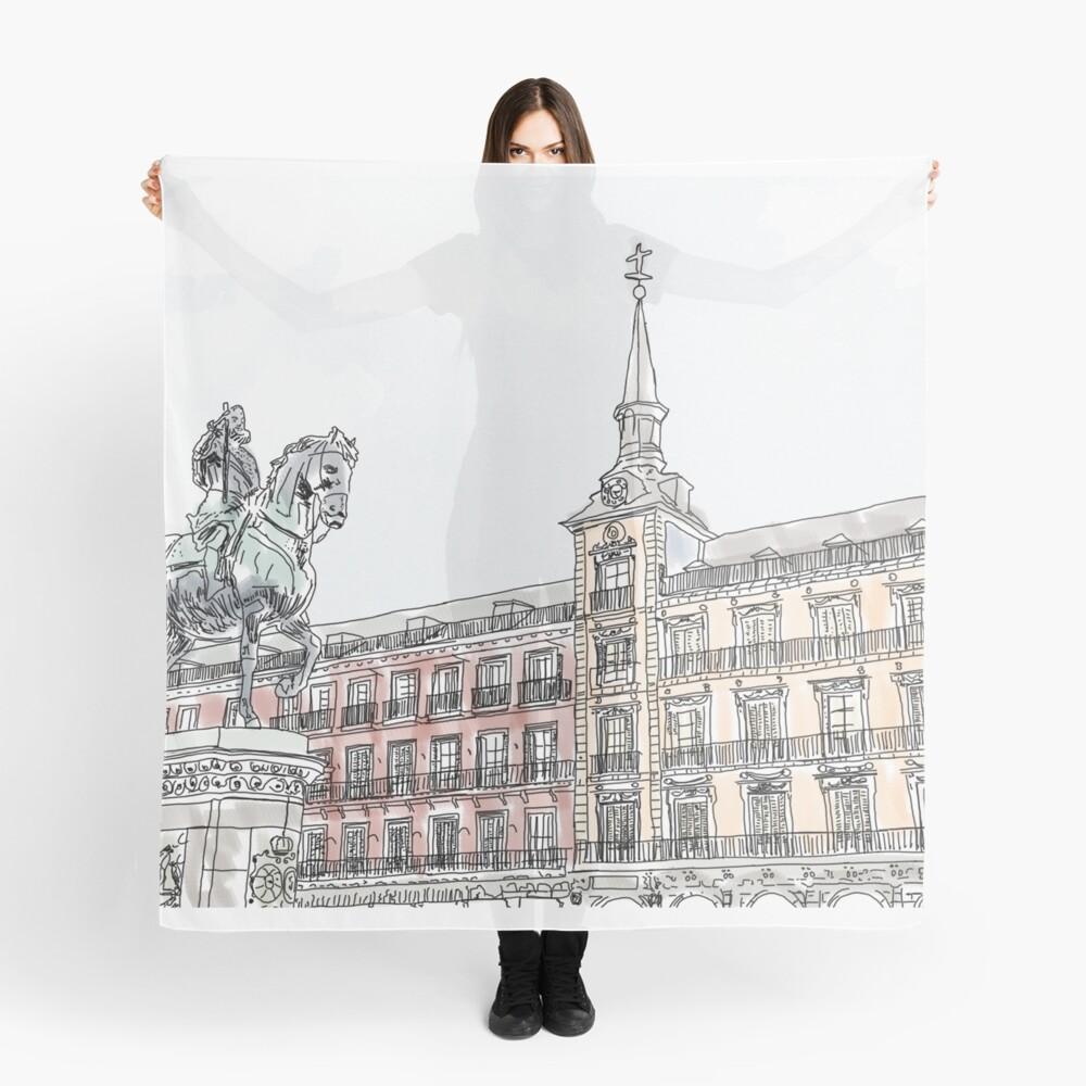Plaza Mayor Madrid Aquarell Tuch