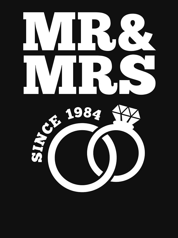 33rd Wedding Anniversary Gift T Shirt Mr Mrs Since 1984 Classic T