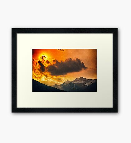 Sunset over Italian Alps Framed Print