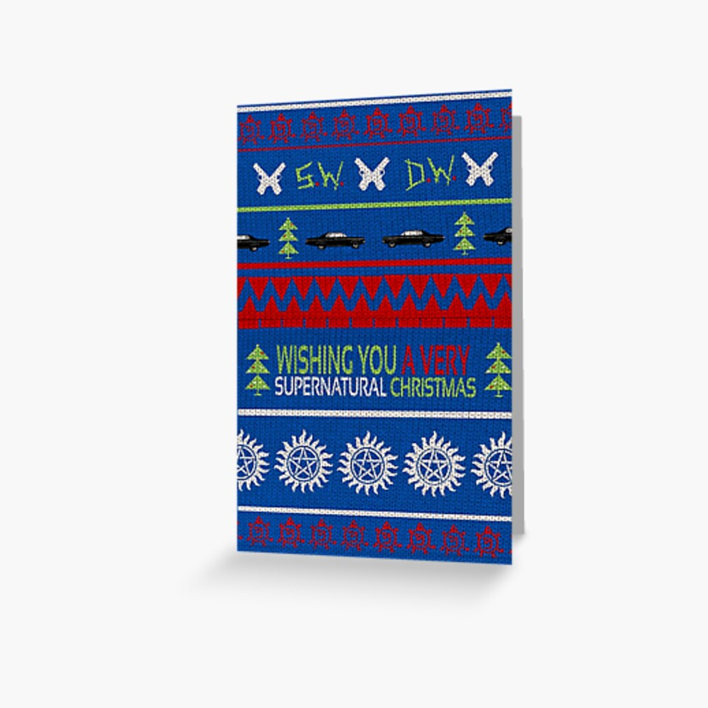 """""""Supernatural Christmas Sweater"""" Greeting Card By"""