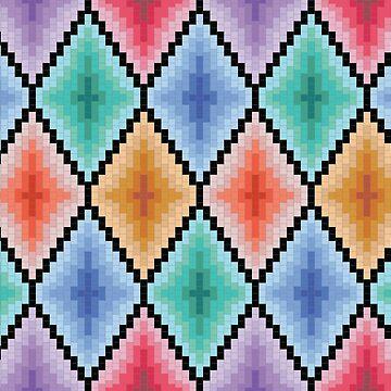 Colorful mosaic diamonds circus pattern by CatyArte