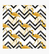 Hand drawn gold flamingo with chevron background Photographic Print