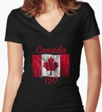 Celebrate Canada's 150th Birthday Women's Fitted V-Neck T-Shirt