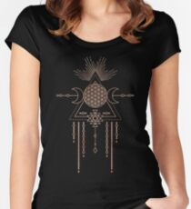 FLOWER OF LIFE - Rose Gold Pink Magical Tribal Galaxy Stars Symbol Women's Fitted Scoop T-Shirt
