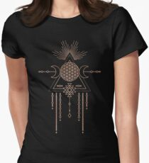 FLOWER OF LIFE - Rose Gold Pink Magical Tribal Galaxy Stars Symbol Womens Fitted T-Shirt