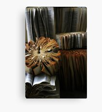 Ancient Library #1 Book Flowers Canvas Print