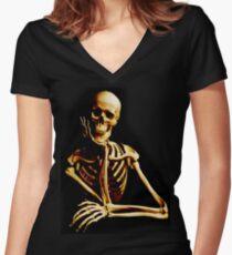 Skeleton Women's Fitted V-Neck T-Shirt