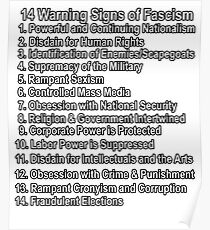 14 Warning Signs of Fascism Anti Donald Trump Resist Protest facism Poster