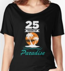 Tropical Beach Silver 25th Wedding Anniversary Women's Relaxed Fit T-Shirt