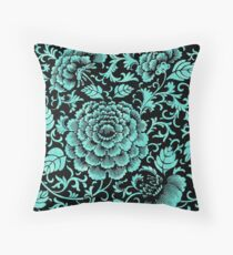 Floral Flowers Turquoise Teal Blue Florals Flower Rose Garden Pattern Throw Pillow