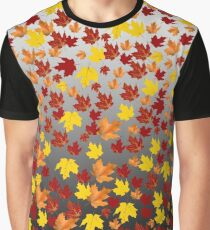 Colored from Autumn in red, brown, yellow, orange falling from the trees leaves over gradient black white colours Graphic T-Shirt