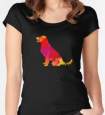 Colorful Watercolor Splash Dog Silhouette Pet Art and Painting Women's Fitted Scoop T-Shirt