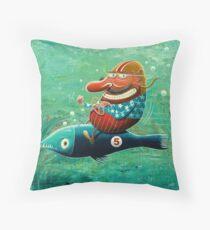 Ride the wild fish Throw Pillow