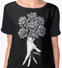 Hand with lotuses on black Chiffon Top