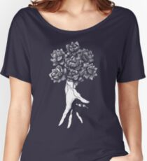 Hand with lotuses on black Women's Relaxed Fit T-Shirt