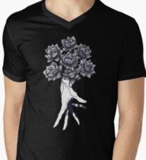Hand with lotuses on black Men's V-Neck T-Shirt