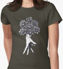 Hand with lotuses on black Womens Fitted T-Shirt